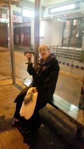 Georgina with Award in bus stop