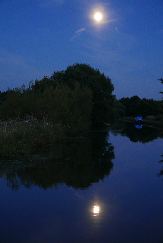 Moon over the Leeds Liverpool near Wigan
