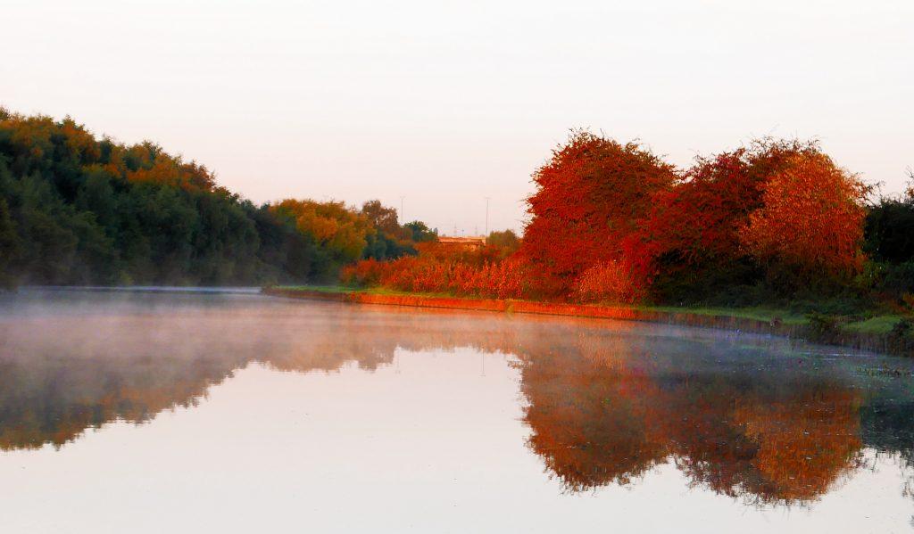 Morning Mist Aire & Calder near Leeds