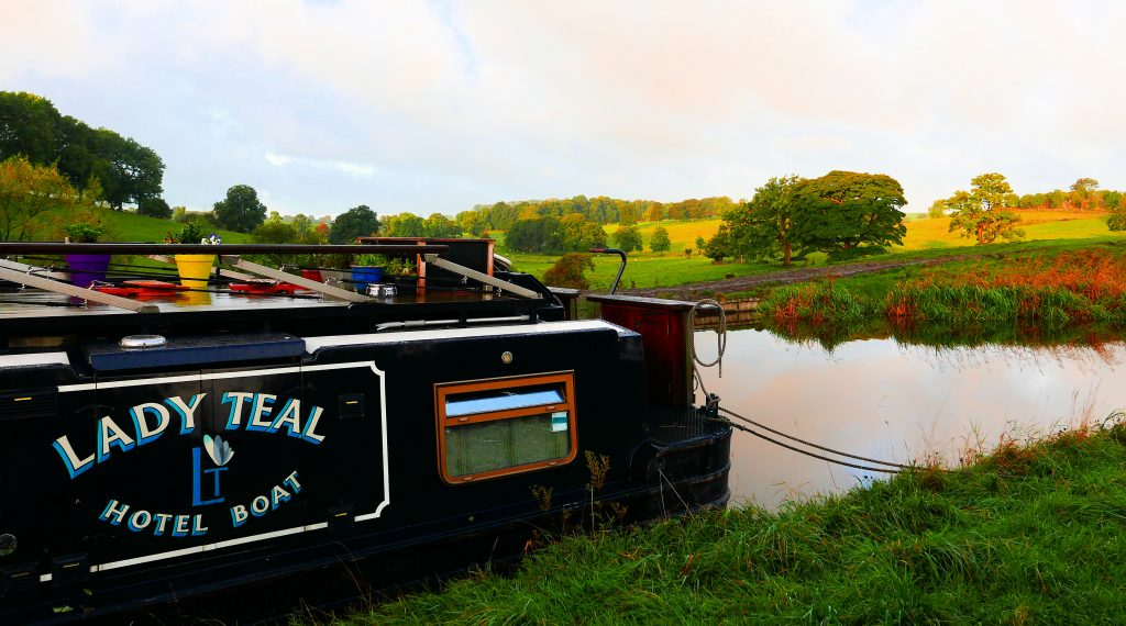 morning shot of Lady Teal moored on the curly wurlies on the Leeds Liverpool canal in the Dales
