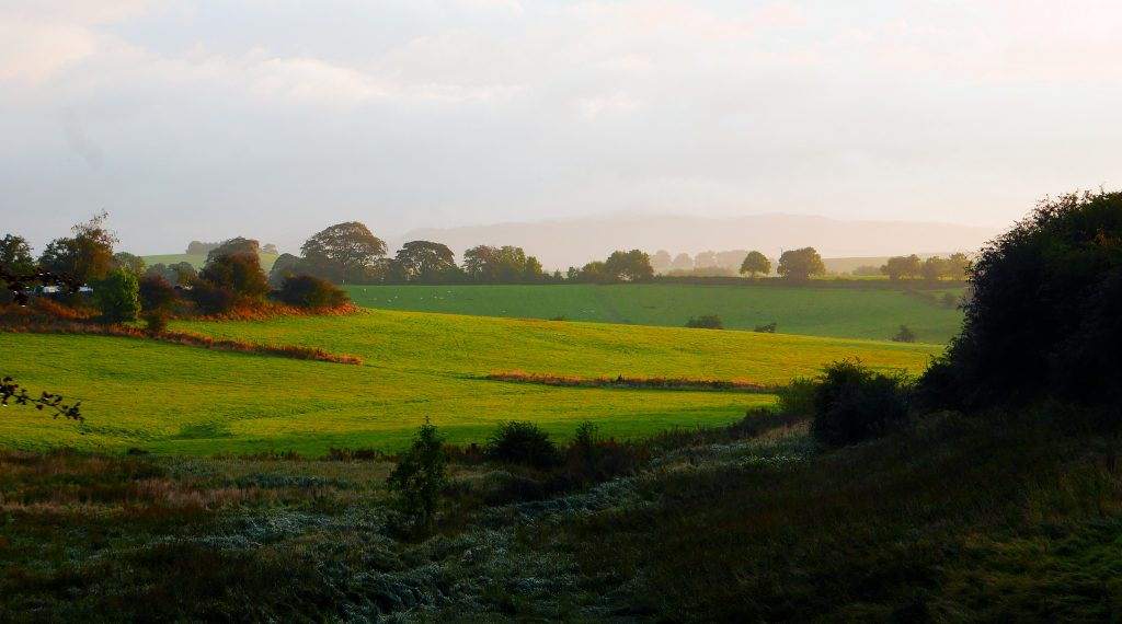 Morning view of the Dales from Leeds Liverpool canal