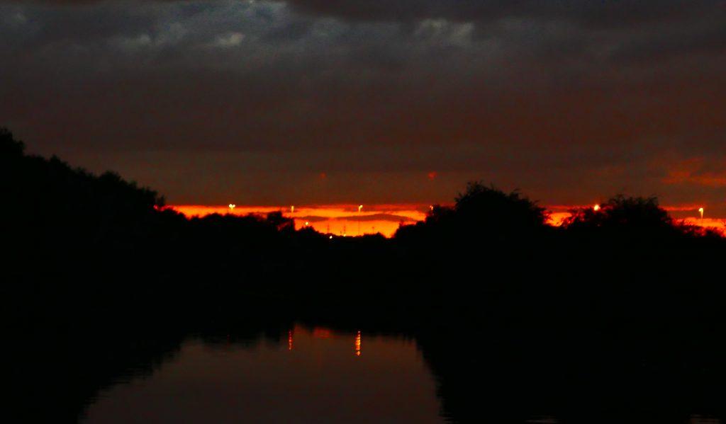 Sunset Aire & Calder near Leeds