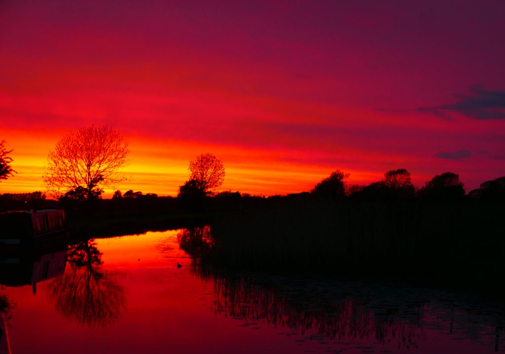 Sunset near Bridge 10 on the Leeds Liverpool Canal