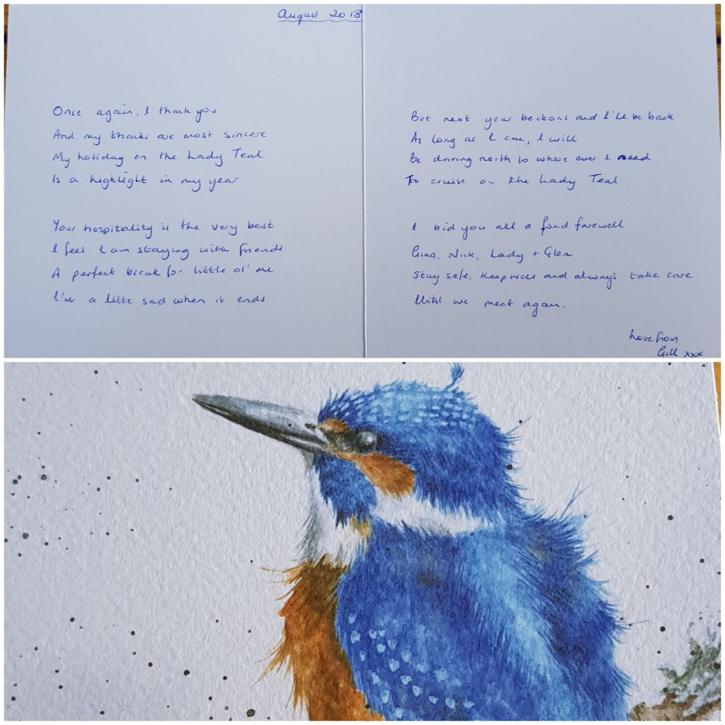 Card and poem from one of Lady Teals Guests